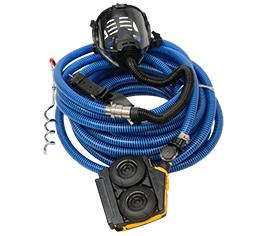 Frischluft-Schlauchgeräte funktionieren mittels einer Zuleitung von schadstofffreier Luft außerhalb des Gefahrenbereichs