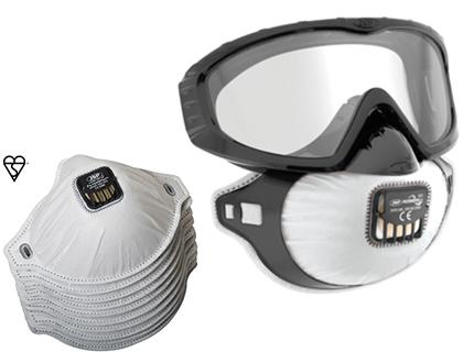 Infektionsschutz: Filtermaske mit Brille FF2 und PADs